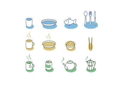 Food icons teapot dish chopsticks coffee tea mug cup rice fish icons food