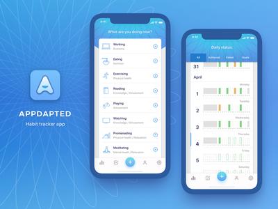 Appdapted habit tracking habit tracker iphone x iphone ios app design app