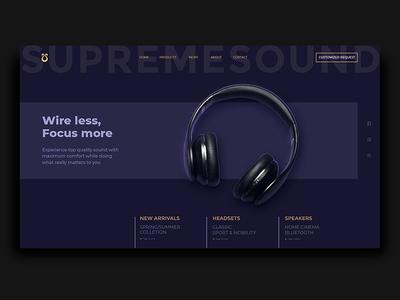 Supremesound website website design website web design web sound homepage headset headphones electronics dark