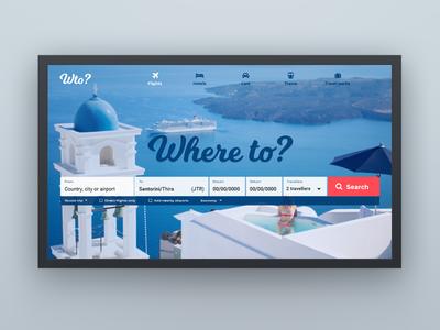 Whereto website ui design blue search travel agency flights holidays travel web design website web