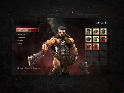 Berserk Inventory - Concept dark fantasy inventory menu game design ui game berserk
