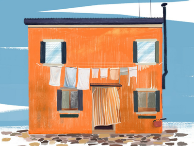 House in Burano digital painting illustration