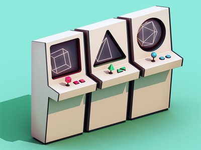 Primitive Artcades lowpoly 3d arcade isometric game