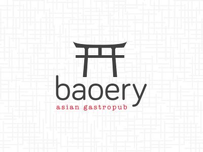 Baoery | Asian Gastropub asian gate torii design brand logo restaurant