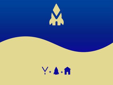 The Home Rocket vector logoinspiration illustrator cc adobe illustrator lettery blue spacelogo rocketlogo homelogo ylogo space rocket graphicdesign design logodesign logo