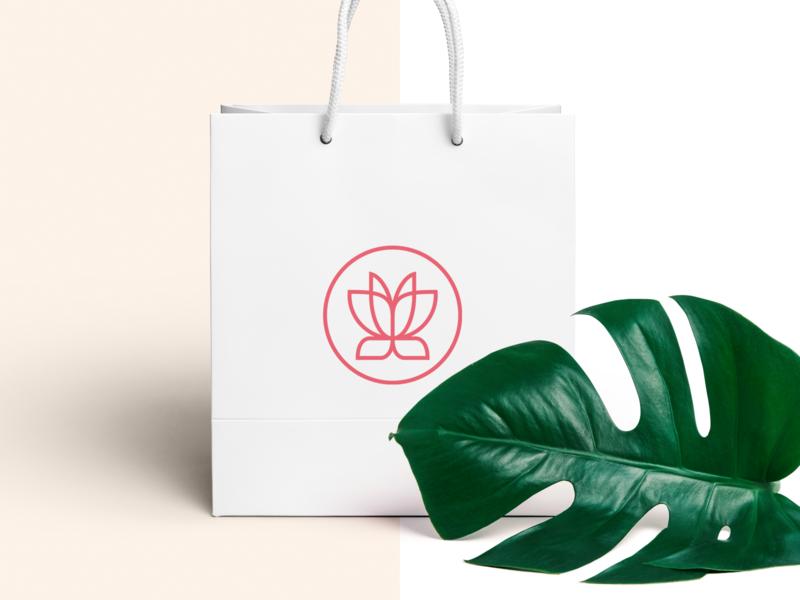 Orilandia shopping bag luxury shopping bag website lotus flower feminine fashion cosmetics butterfly beauty symbol mark creative design identity brand identity vector logo design logo branding