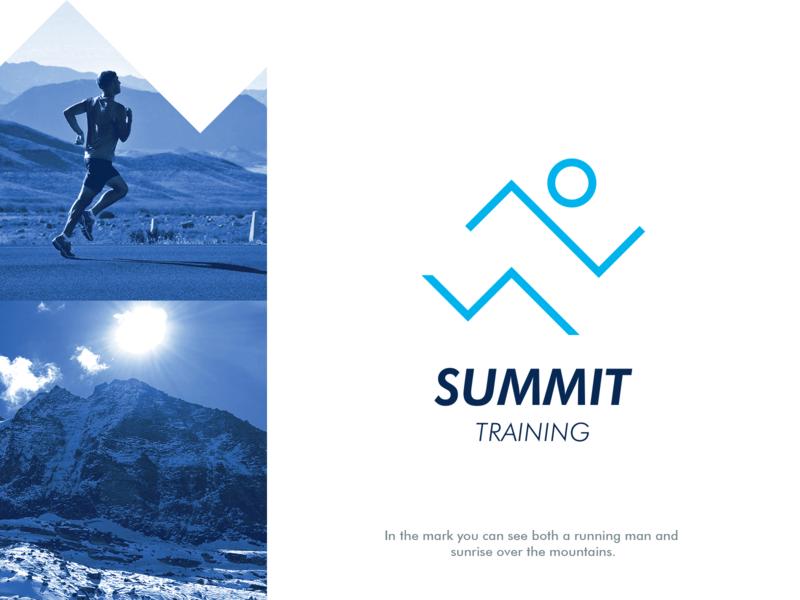 Summit Training logo design hiking clever logo sport mountaineering alpinism running man sun training summit mountain symbol mark creative design identity brand identity vector logo design logo branding