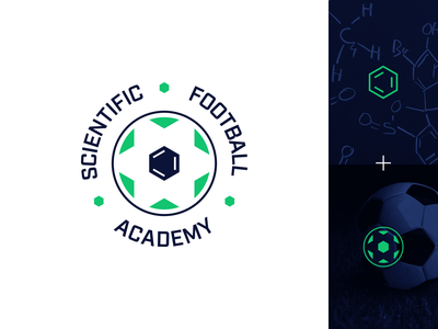 Scientific Football Academy logo geometric technology hexagon sports sport concept badge symbol mark design logo design logo identity branding brand identity ball chemistry science soccer football