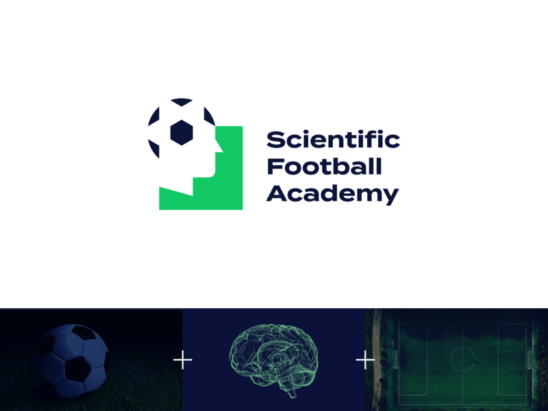 Scientific Football Academy logo concept negative space logo concept human science face brain sports sport soccer football ball negative space symbol mark design logo design logo identity branding brand identity