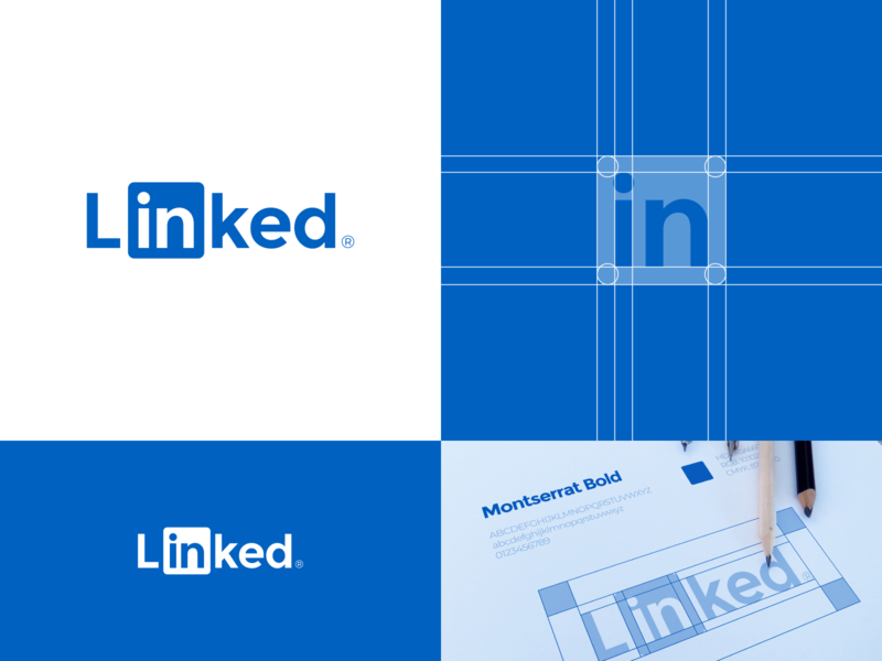 Linkedin logo redesign concept negative space social media website logotype typography construction symbol mark logo grid concept rebranding rebrand logo redesign redesign linkedin logo design logo identity branding brand identity