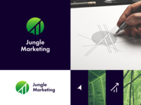 Jungle Marketing logo design forest tropical growth leaf tree social media arrow marketing jungle negative space logo concept marketing agency negative space symbol mark logo design logo identity branding brand identity