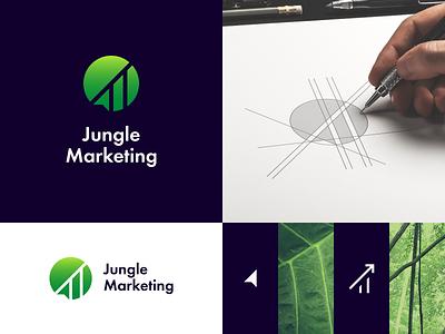 Jungle Marketing logo design forest tropical growth leaf tree social media arrow marketing jungle negative space logo concept marketing agency negative space symbol mark logo design logo identity branding brand identity