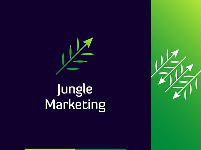 Jungle Marketing logo concept tropical social media plant nature marketing agency marketing leaf jungle growth forest fern concept arrow symbol mark logo design logo identity branding brand identity