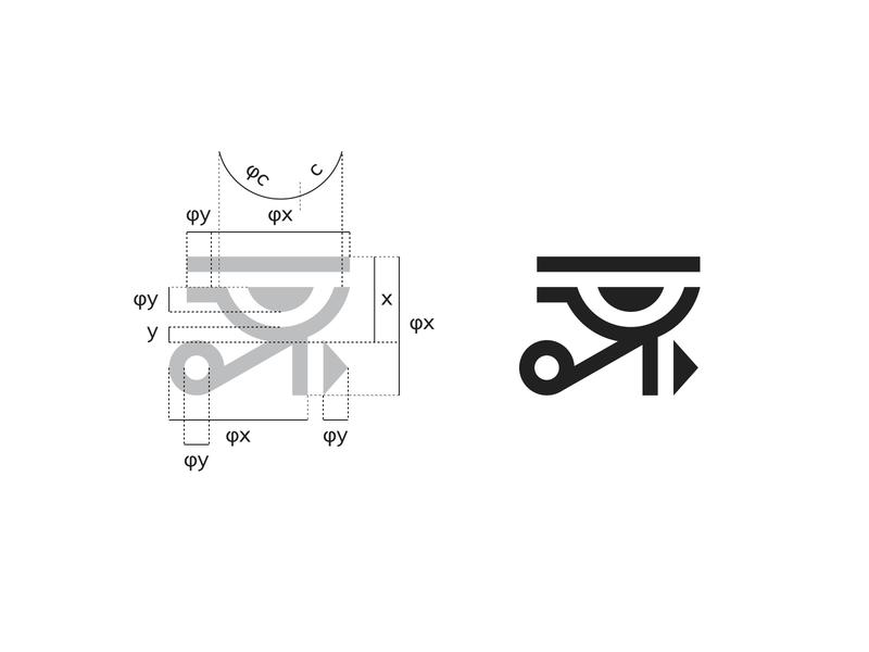 Eye of Horus golden ratio logo modern personal geometric black grid golden ratio logo eye of horus eye process golden ratio symbol mark creative design identity brand identity vector logo design logo branding
