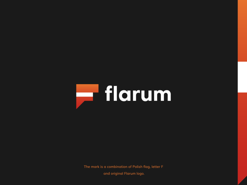 Polish support of Flarum logo concept technology concept speech bubble gradient forum flarum poland polish monogram letter symbol mark creative design identity brand identity logo design logo branding vector