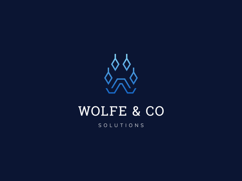 Wolfe & Co solutions blue gradient engineering solutions wolf paw wolf consultancy consulting monogram letter symbol mark creative design identity brand identity logo design logo branding vector
