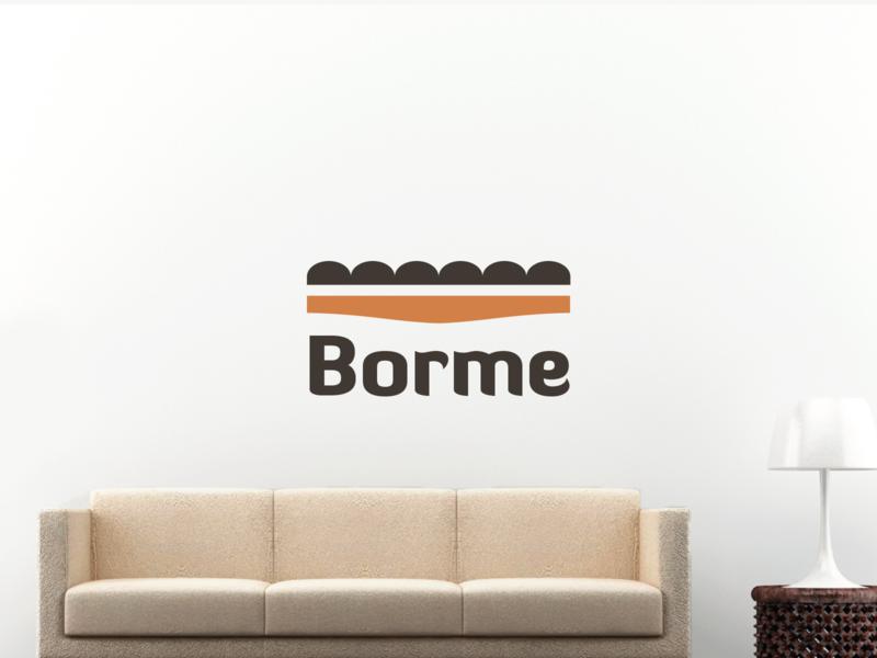 Borme upholstered furniture shop logo online minimal couch leather bench sofa pouf shop upholstered furniture symbol mark creative design identity brand identity logo design logo branding vector