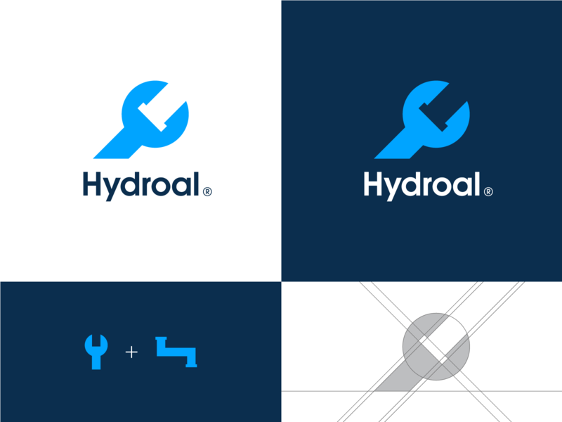 Hydroal plumbing logo minimal smart clever negative space grid water wrench plumber pipe plumbing symbol mark creative design identity brand identity logo design logo branding vector
