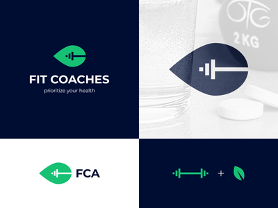 Fit Coaches logo proposal gym coach personal trainer health nutrition fit fitness dumbbell leaf negative space symbol mark creative design brand identity logo design logo branding vector identity
