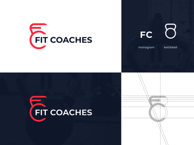 Fit Coaches approved logo sport coach gym fc monogram kettlebell personal trainer fitness fit monogram letter symbol mark creative design identity brand identity logo design logo branding vector