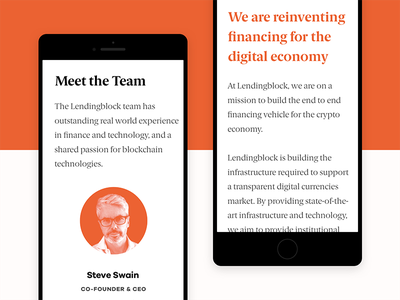 Lendingblock Mobile Website currency marketing shapes orange website finance exchange crypto cryptocurrency branding