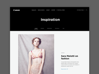 Canon Professional Website ux wireframe digital white black images professional photography design website canon