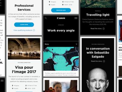 Canon Professional Website Mobile