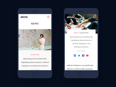 Afiniti Mobile Website scroll editorial blue ai landing page case study website artificial intelligence