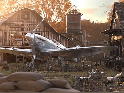 Spitfire 1938 3d cgi octanerender cinema4d