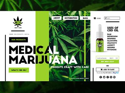 CBD Oil Website Concept bold colors bold design bold font website medical marijuana green cannabis marijuana cbd oil