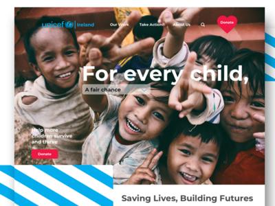 UNICEF website concept unicefie children donate redesign website concept unicefireland uniceforg webdesign uidesign web unifec