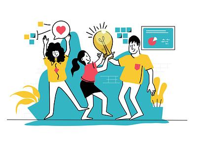 Team work makes the dream work. Design team brainstorming workplace firm teamwork designers simple illustration illustration design