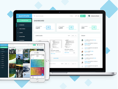 Piximate Website masonry grid responsive design ui dashboard