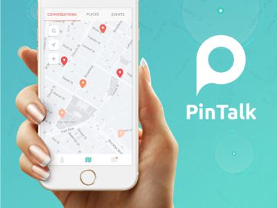 Pintalk App Design branding logo ios chat app map design app