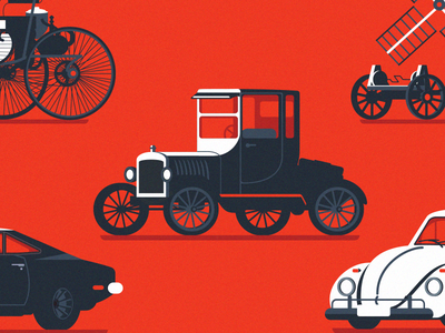 History of cars collection ford design flat history cars adobe illustrator illustration