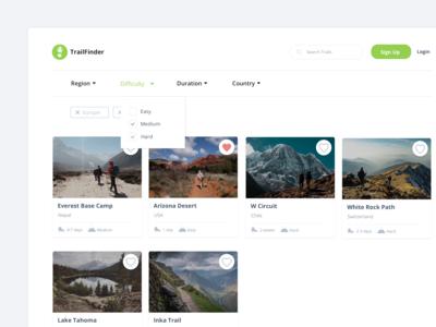 TrailFinder Web App Dashboard