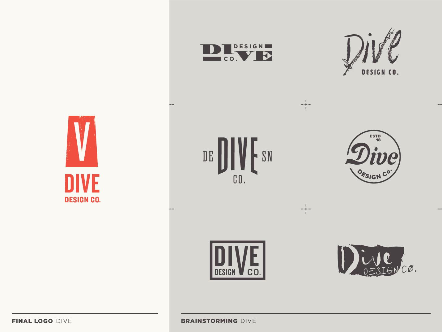Dive vector typography logo design branding type logo flat brand identity