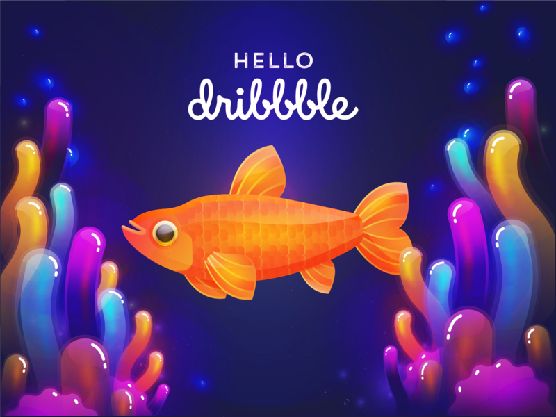 Hello Dribbble!! debut shot debut new adventures say hi new account hello world colorful fish hello dribbble new hello illustration