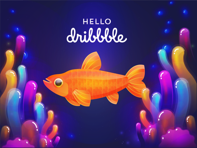 Hello Dribbble!! debut shot debut new adventures say hi new account hello world colorful fish hello dribbble new hello illustration