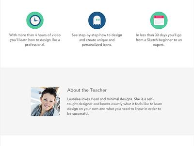 Course Landing Page web simple minimalistic course form landing page icons newsletter course landing page sketch testimonial webinar