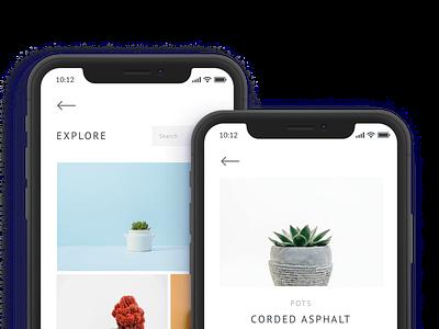 Succulent E-Commerce App sketch succulent mobile app design ecommerce app minimalistic