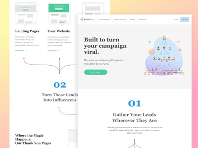 KickoffLabs - How It Works Page sketch landing page design how it works ux ui logo illustration minimalistic