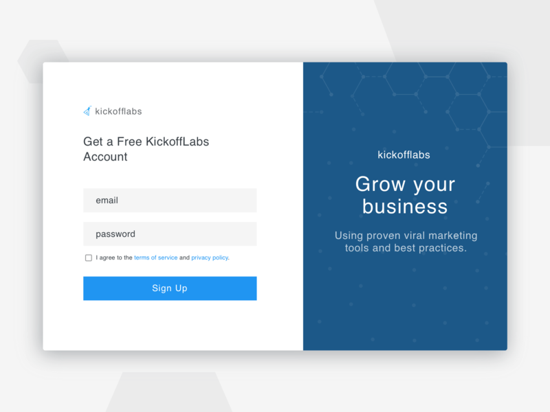 Create a free account signup product design form