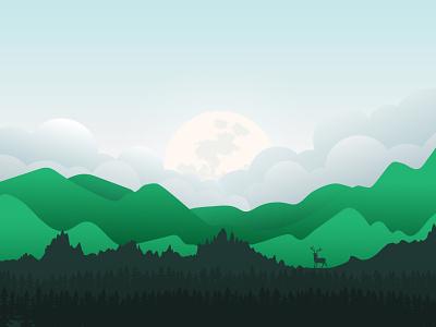 Elk flat vector minimalist minimalism maranestudios marane landscape illustration hamydkahn design