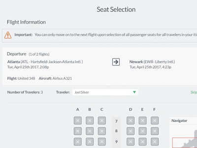 Seat Selection Feature imagery fonts themes currency desktop mobile responsive localization web ux interactive