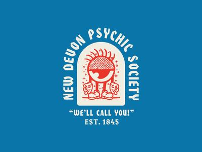 New Devon Psychic Society Alt eye psychic illustration lettering iconography branding character design badge typography