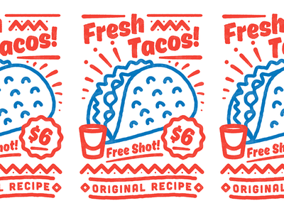 Fresh Tacos! texture lettering apparel tee tshirt mexican fastfood taco illustration badge typography