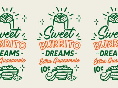 Sweet Burrito Dreams logotype branding lettering typography iconography lockup logo illustration badge guacamole burrito street food