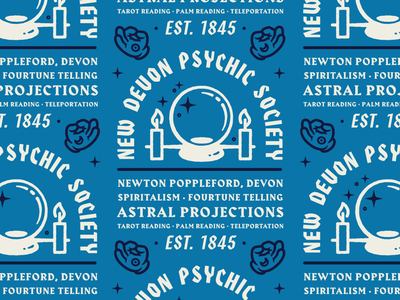 New Devon Psychic Society Ad branding lockup astral projections advertising devon hands psychic advert iconography illustration badge lettering typography