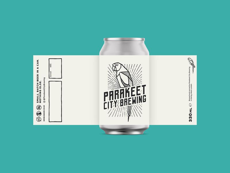 Parakeet City Brewing can design packaging logotype logo branding badge typography parrot parakeet craft brewery beer craft beer